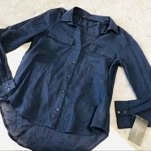 NWT Zara blue and red polka dot button up top XS